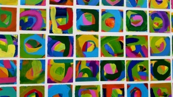 Majority Influence, each piece is 5x5in, Series of 105 Acrylic on Paper Paintings