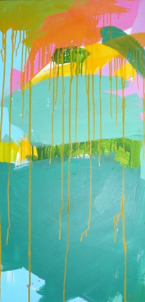And round the corner…, Acrylic on Canvas, 20 x 40 in